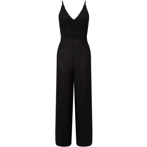 Miss Selfridge Black Glitter Strappy Jumpsuit ($76) ❤ liked on Polyvore featuring jumpsuits, black, miss selfridge jumpsuit, glitter jumpsuit, strappy jumpsuit, jump suit and miss selfridge