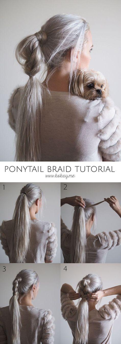 Half braided ponytail tutorial