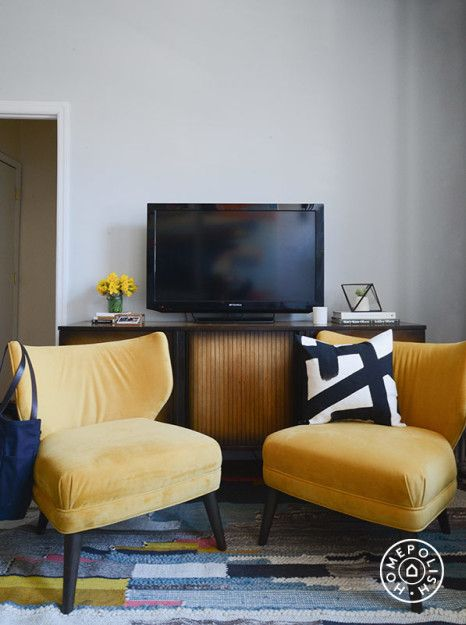 """A Living Room Revamp: ScoutSixteen x West Elm x Homepolish - We love these <a href=""""http://www.westelm.com/products/wrh-retro-wing-chair-h949/?pkey=cliving-room-chairs