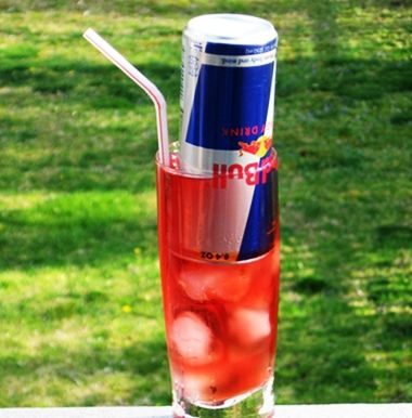 Cherry MOAB ~ 3 oz. UV Cherry Vodka, 1 oz. Limoncello, 2 oz. Cranberry/Cherry Juice, 1 can Red Bull (thoroughly wash the can)