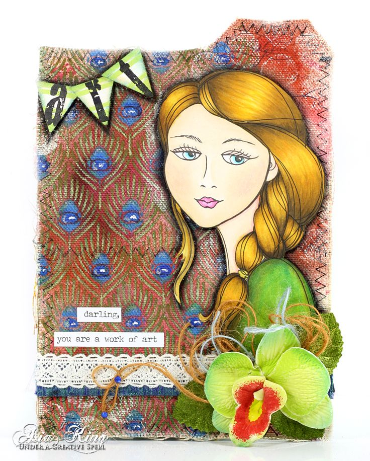 #cre8time with @stampendous and @decoart, mixed media panel by Asia King #stampendous #decoartprojects #decoartmedia