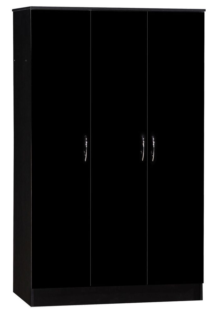 3 Door Wardrobe Closet Clothes Storage Triple Cabinet Bedroom Black Gloss Mat UK