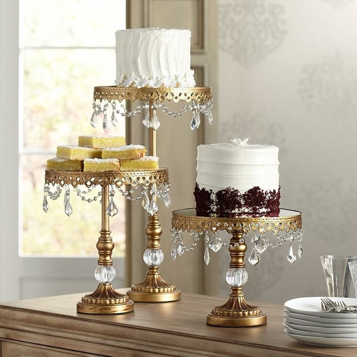 "Amazon.com | Antique Gold Crystal 12"" High Cake Stand: Cake Stands"