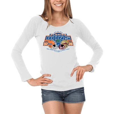 Florida Gators vs. Florida State Seminoles (FSU) Ladies 2012 Score Long Sleeve T-Shirt - White