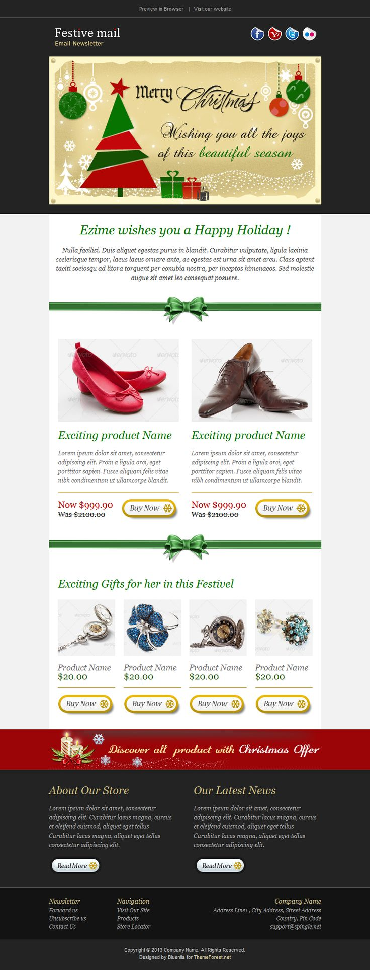 Vintage Holiday Newsletter Template For You In This Festive Season