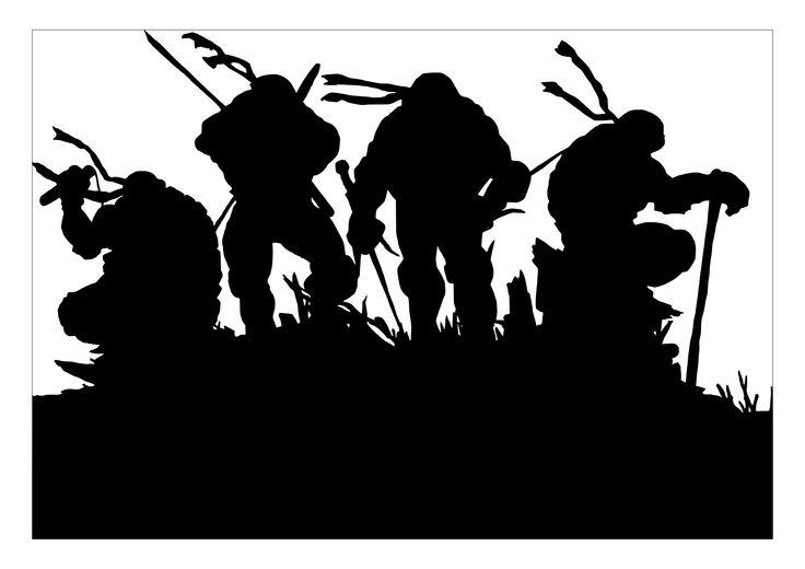 Teenage Mutant Ninja Turtles Silhouette. Acrylic on Canvas Gallery quality print.