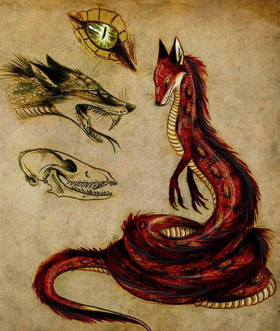 Змея и волк рисунок