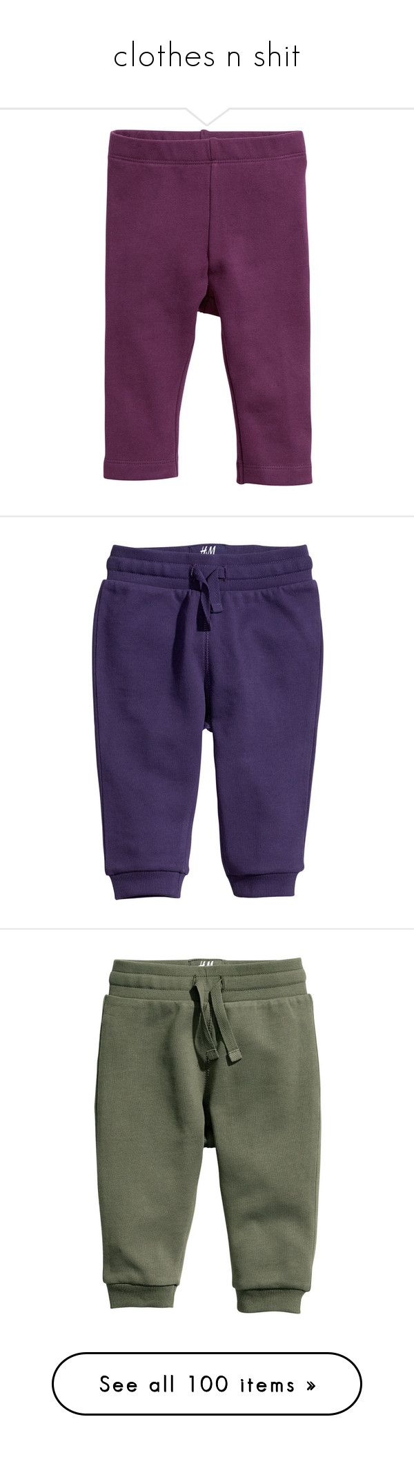 """clothes n shit"" by d-ynasty ❤ liked on Polyvore featuring pants, leggings, baby, h&m leggings, purple pants, purple leggings, h&m trousers, h&m pants, kids and baby clothes"