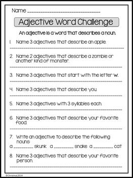"Use this free worksheet to add a little fun to your ""Parts of Speech"" unit. Great activity for early finishers, also! It is from the larger product Word Challenges - Fun Worksheets for"