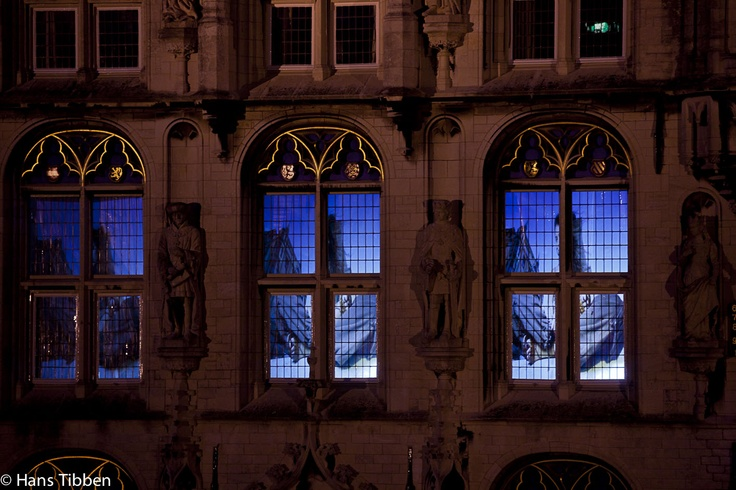 Behind the windows of the townhall Gouda