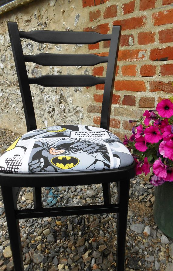 Wacky Hand Painted Black Gloss Batman Chair, Newly Reupholstered