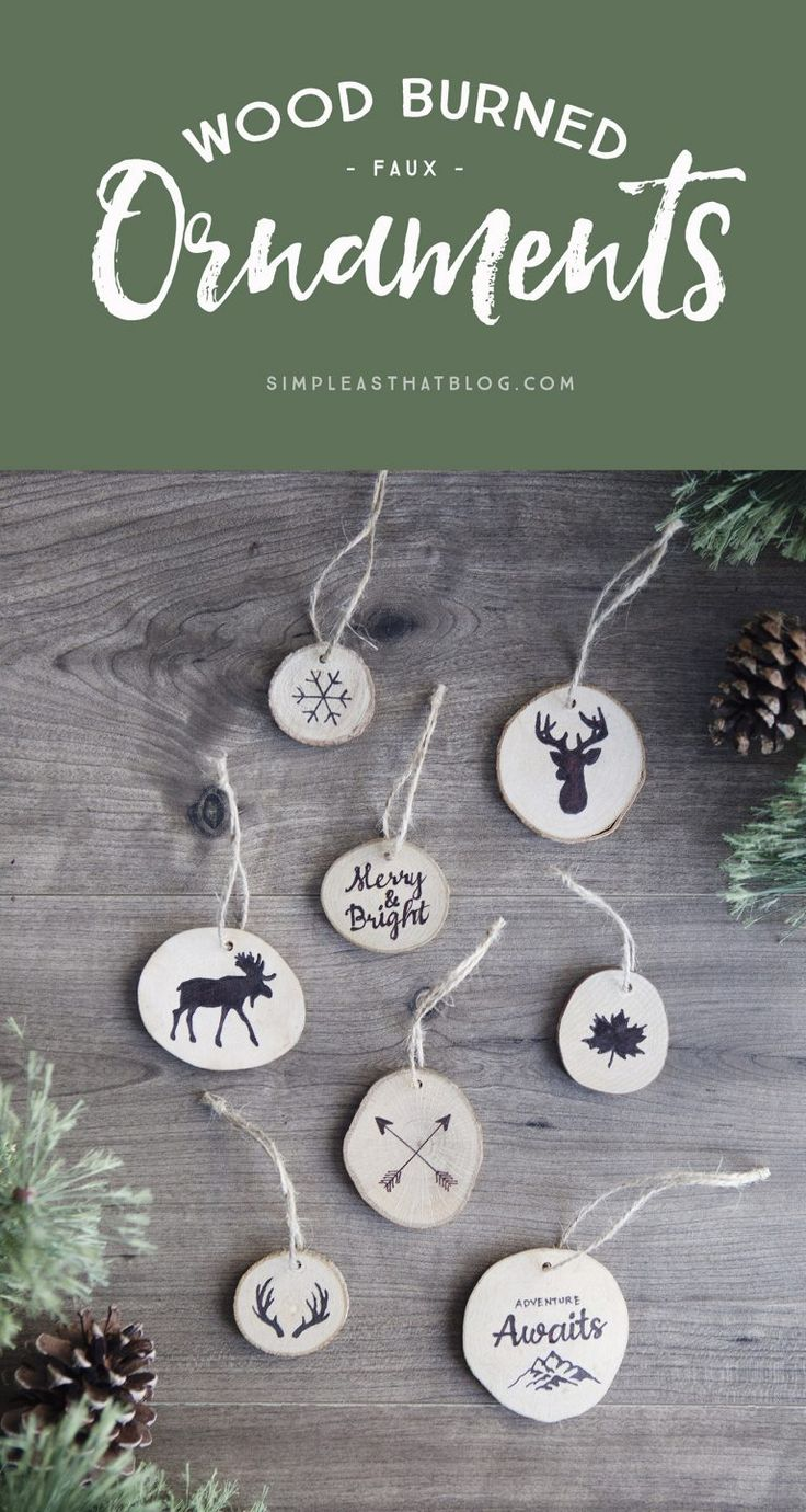 Plaid monograms natural wood ornaments feathers and i couldn t - Create Faux Wood Burned Christmas Tree Ornaments Without Any Special Tools Complete How To