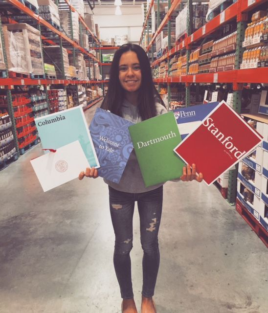 Brittany Stinson, in the store that started it all, Acceptance to 5 Ivy schools and Stanford with an essay on Cosco.