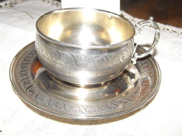 Tasse à thé et soucoupe Argent Minerve 1er Titre Monogramme ML entrelacés   #LouisXVI