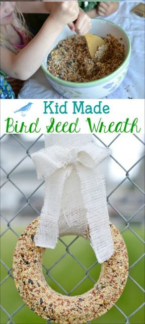 This kid made bird seed wreath is a great spring and summer project. Make, hang and enjoy bird watching with the kids.