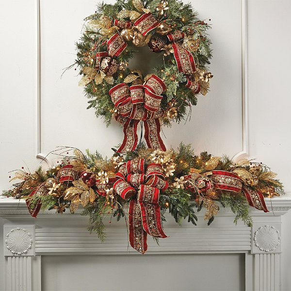 196 best christmas hearths images on pinterest christmas for Christmas mantel decorations garland