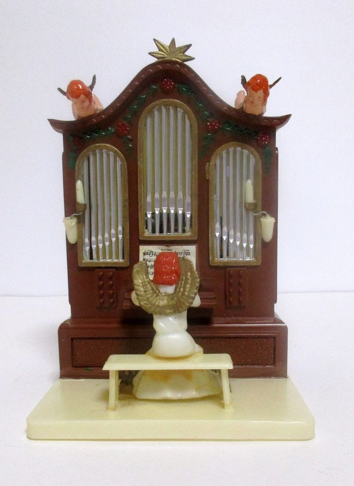 Vintage Oversea Angel Playing Organ Music Box Plays Silent Night Hong Kong