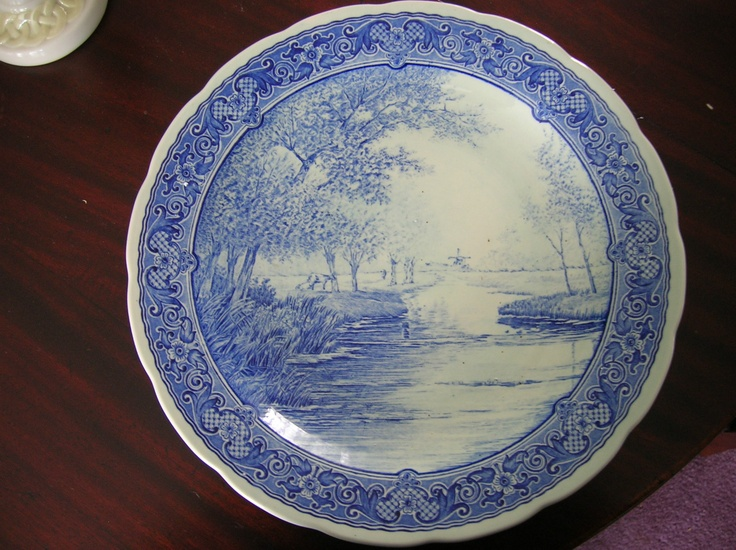 """Boch Delfts 12"""" Charger Platter Made In Holland/ Country Scene/ Windmill & Cow"""