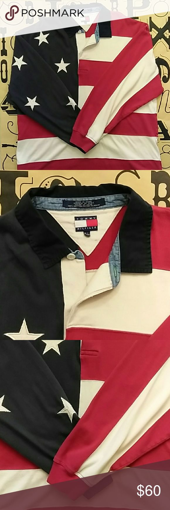 Tommy Hilfiger American flag rugby long sleeve Gently used early 2000s Tommy Hilfiger American flag rugby long sleeve shirt size XL Tommy Hilfiger Shirts