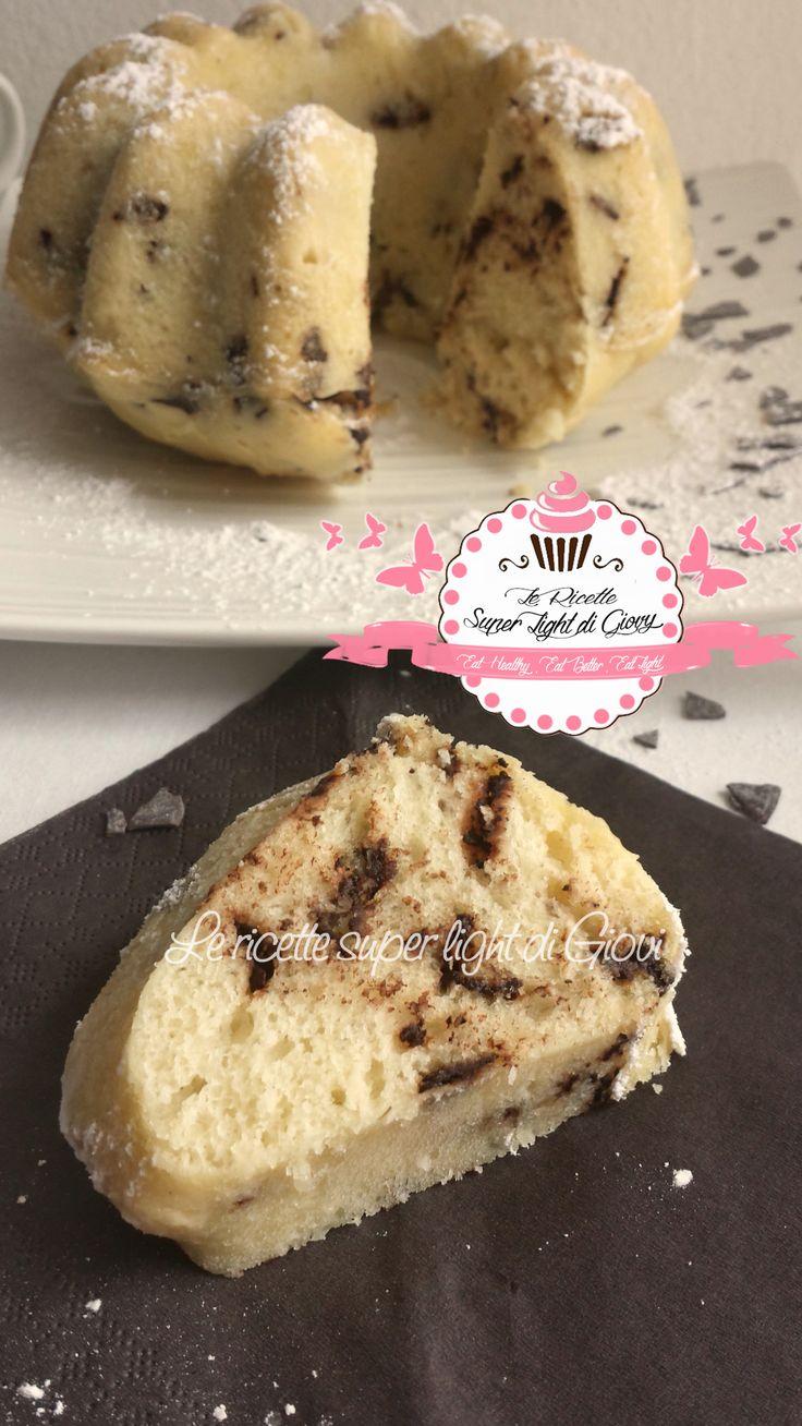 Ciambella light all'acqua con scaglie di cioccolato - senza uova e senza latte (105 calorie a fetta) | LeRicetteSuperLightDiGiovi