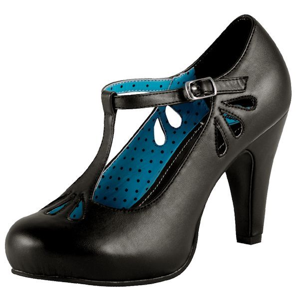 TUK Black 50s T Strap La Femme Rockabilly Heels