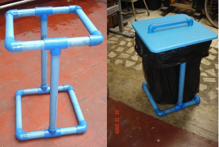 PVC trash bag holder. Perfect for a camp site!