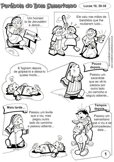 Parábola do Bom Samaritano para colorir.                                                                                                                                                                                 Mais