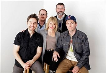 Filmmaker Derek Franson, producer Andrew Webster, actress Victoria Bidewell, producer Justin James and actor Tygh Runyan pose for a portrait during the 2012 Sundance Film Festival at the WireImage Portrait Studio at T-Mobile Village at the Lift on January 21, 2012 in Park City, Utah.