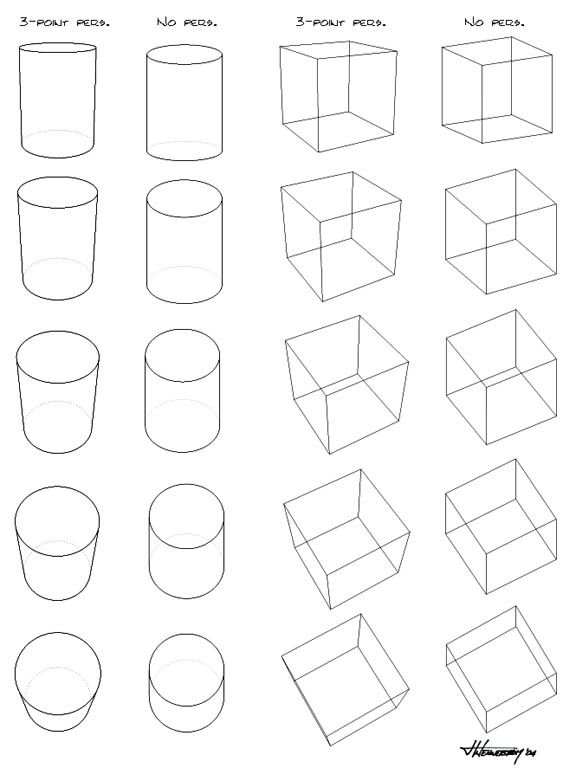 How To Draw A Cube In Perspective 3-point perspective vs. no