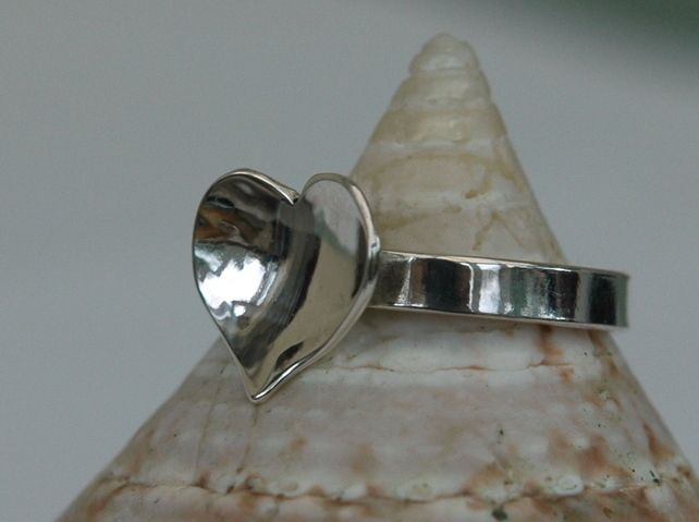 Silver Ring with Domed Heart, size M-N £25.00