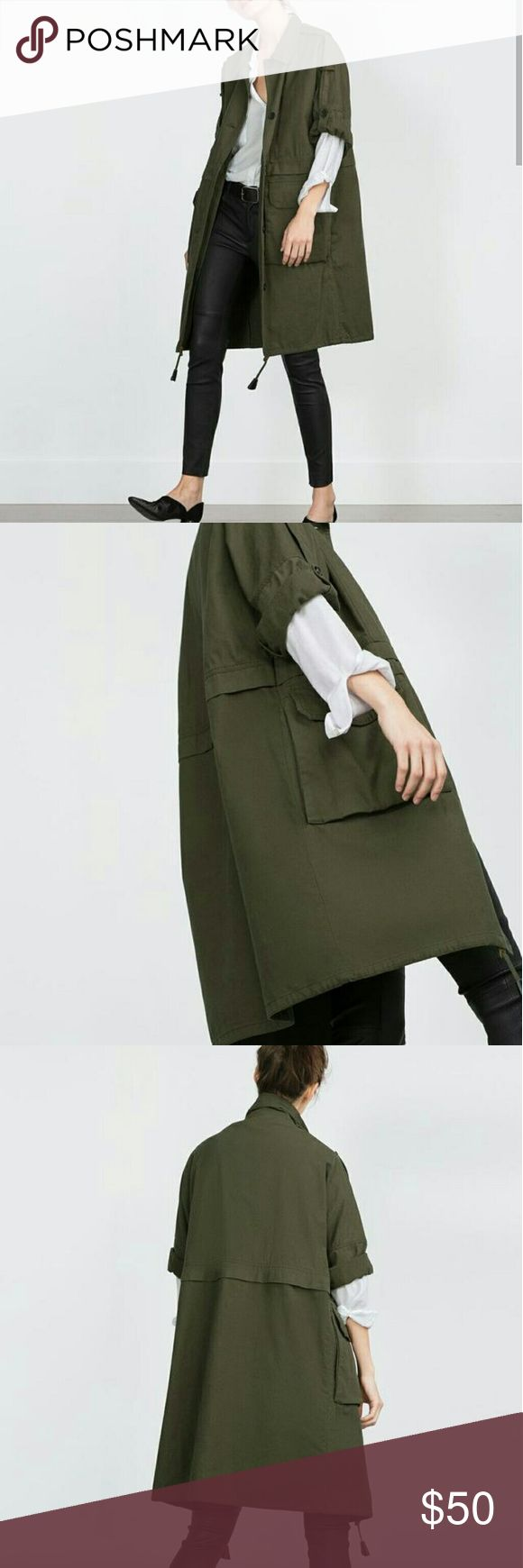Zara Woman Khaki Parka Long Jacket Coat Embrace a longline cut with this khaki parka. The roll-up sleeves and drawstring waist add to the utilitarian chic.  Worn once. Zara Jackets & Coats