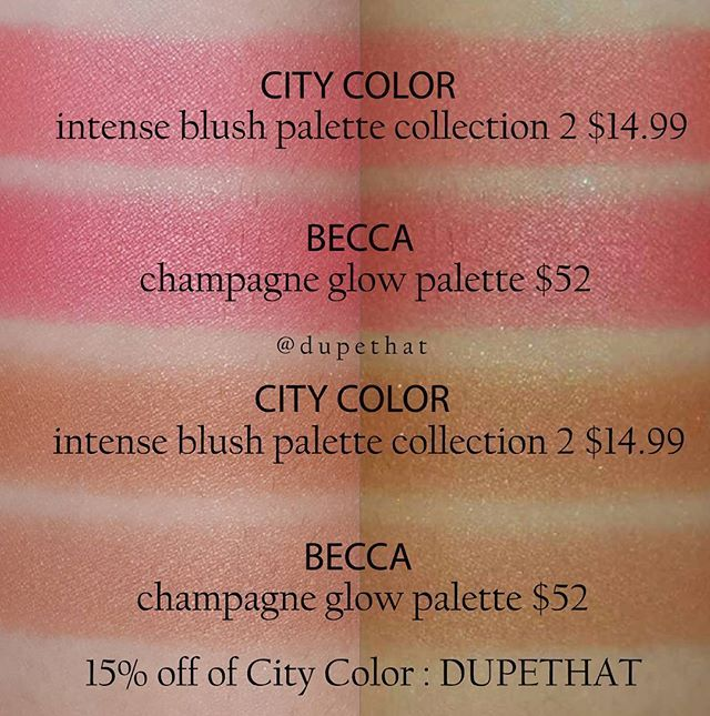 "We've been comparing @beccacosmetics x @jaclynhill Champagne Glow Palette to the @citycolorcosmetics Timeless Beauty Palette all morning and have come to the conclusion that none of the shades are really ""dupes"" of each other! If you want some closer dupes for the blushes within the Champagne Glow Palette, I'd recommend checking out @citycolorcosmetics Intense Blush Palette (Collection 2)! Two of the six shades in the Intense Blush Palette really resemble a few of the Champagne Glow blushes."