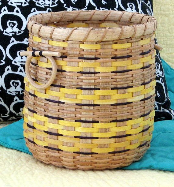 Fun Spoked Basket with Yellow and Black by nmlbaskets on Etsy, $45.00