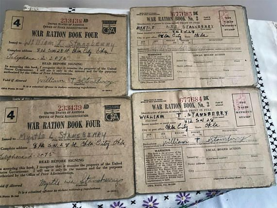 Ration Books Ration Stamps WWII Ration Books War Memorabilia