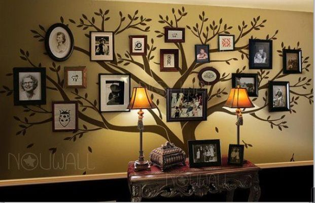 Good idea for decorating a hallway and setting up pictures.