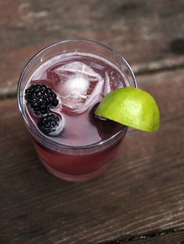 The Huck Finn (Gin Cocktail With Blackberries, Cucumber And Basil Syrup) by Deena Pricihep as adapted from Alex Moriary and Tyler Harvey, via NPR