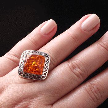 Anel de prata com âmbar-34961