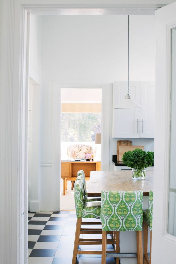 Bright green fabric adds a pop of