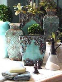 Aqua and Charcoal Gray Mediterranean style bathroom accessories