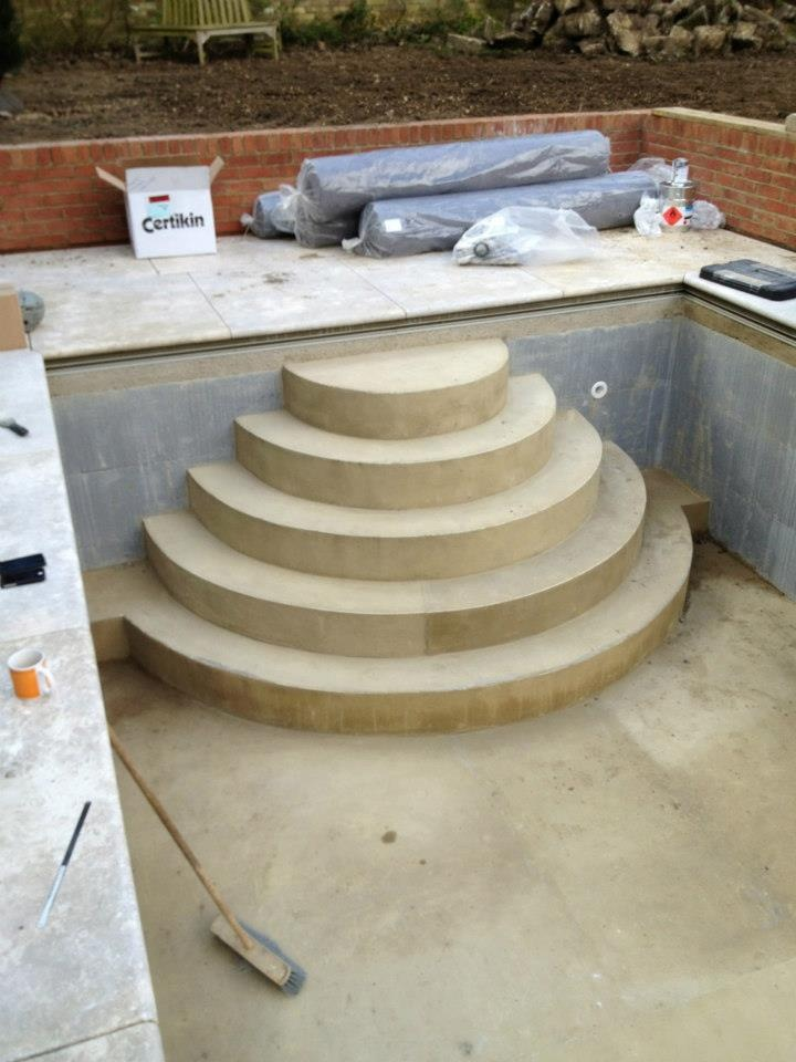 wedding cake step construction prior to pool lining