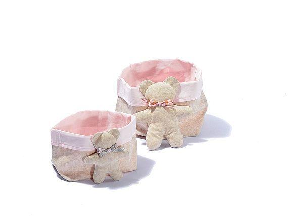 Objectholder in cotton and linen with doll / portaoggetti con pupazzetto di EffeCremona