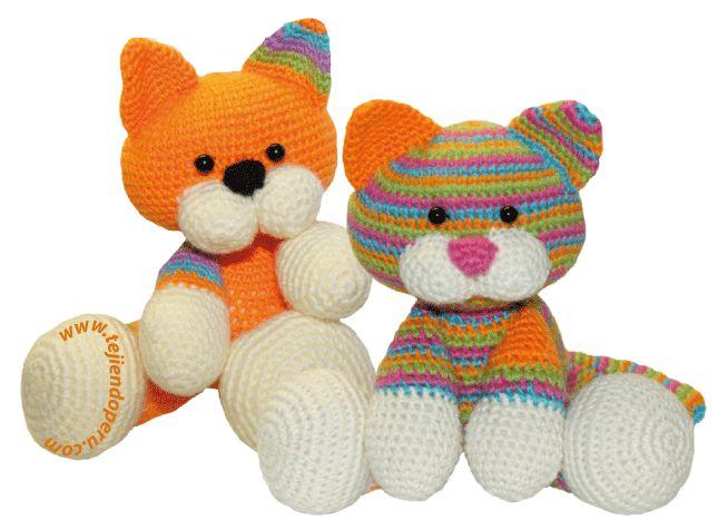 Cómo tejer gatitos bebé en la técnica del amigurumi (a crochet). Pueden tejerlos en un solo color o de muchos colores!!