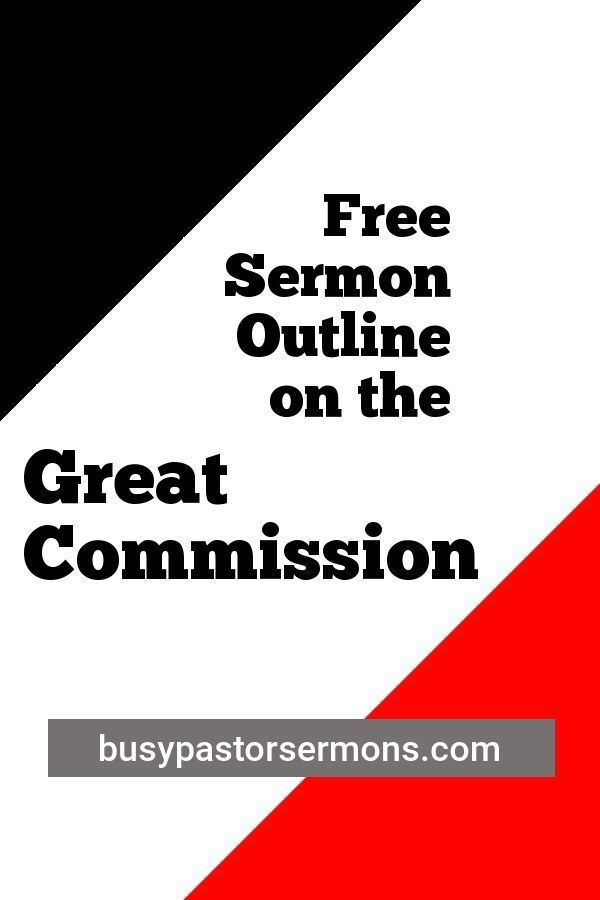 One of five sermon outlines on the Great Commission, found
