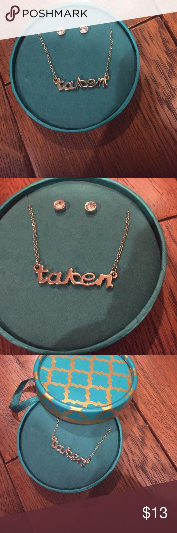 Taken necklace with earrings ! NEVER USED ! Taken necklace with small earrings to match ! Comes in box ! NEVER USED ! Great Christmas gift ! FINAL price buy now ‼️‼️🙌🏻 Jewelry Necklaces