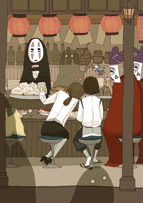 "Image from ""El viaje de Chihiro"" / ""Send to Chihiro no Kamikaukushi"", Artist and director Hayao Miyazaki - Thanks @OcéanoMar"