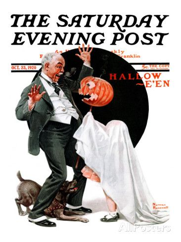 """""""Halloween"""" Saturday Evening Post Cover, October 23,1920 Giclee Print by Norman Rockwell at AllPosters.com"""