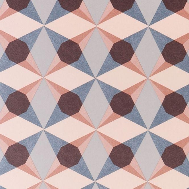Jocelyn Warner Cube Star Hand Screen Printed Geometric Wallpaper Coral (JWP-1904)