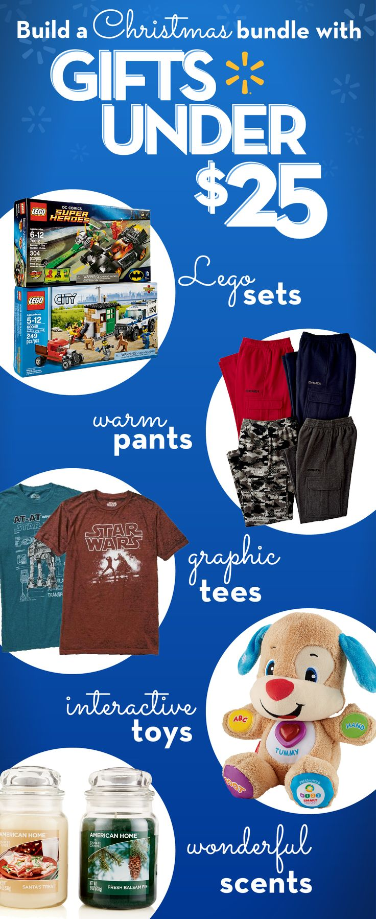 Looking for great gifts under $25? Get quality presents for less at Walmart. Check out inexpensive ideas for everyone on your list. Find toys for kids like the Fisher-Price Laugh & Learn Puppy. Lego Sets are fun for all ages. Stylish graphic tees and warm, comfy winter clothing make great gifts for men and women. American Home by Yankee Candles are great go-to gifts for mom, grandma, friends & teachers. Get more ideas for gift exchanges, shopping on a budget or polishing off your Christmas…