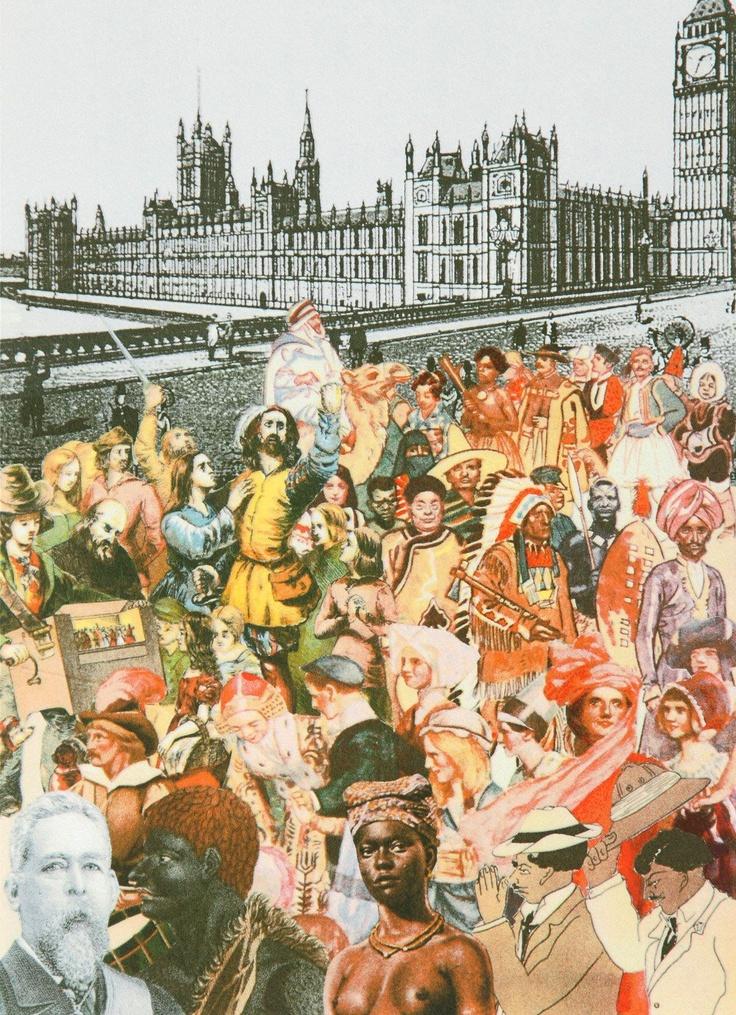 World Tour: London, Multi-Ethnic Crowd Silkscreen Print by Sir Peter Blake
