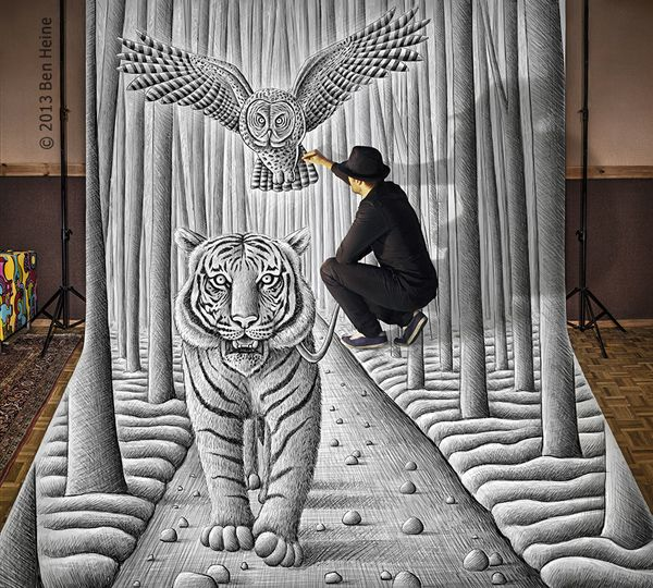 Nouveau trompe l'oeil de l'artiste et photographe belge Ben Heine, spécialiste des dessins très créatifs. Avec sa série « Pencil Vs Camera » Il superpose un dessin à la réalité. Photographié dans un bon angle, le dessin donne l'illusion de faire partie de la photo.